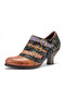 SOCOFY Floral Cloth Splicing Printed Leather Colorful Ankle Metal Strap Side Zipper Comfy Wearable Heels Pumps - Brown Black
