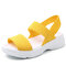 Plus Size Women Outdoor Mesh Elastic Band Solid Color Platform Casual Flat Sandals - Yellow