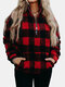 Fleece Plaid Stand Collar Zip Front Plus Size Winter Sweatshirt with Pockets - Red