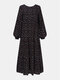 Women Ethnic Floral Print Patchwork Puff Long Sleeves O-neck Dress - Black