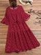 Polka Dot Print Elastic Waist Ruffle Sleeve Plus Size Casual Dress - Red