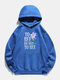 Sunflower Letters Printed Long Sleeve Drawstring Hoodie For Women - Blue
