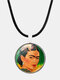Cartoon Printed Men Women Necklace Adjustable Woman Wearing Flowers Glass Pendant Leather Necklace - #11