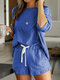 Solid Color Long Sleeve Loose Casual Suit For Women - Blue