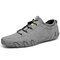 Men Handmade Soft Lace Up Leather Driving Shoes - Gray