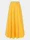 Jupe longue décontractée à taille élastique plissée de couleur unie pour femmes - Jaune