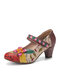 SOCOFY Elegant Flowers Decor Foliage Cloth Stitching Printed Cowhide Leather Comfy Mary Jane Pumps - Apricot
