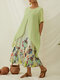 Vintage Print Patchwork A-line Plus Size Maxi Dress with Pockets - Green
