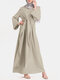 Solid Color Knotted Long Sleeve Maxi Muslim Dress - Beige