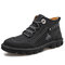 Men Work Style Hand Stitching Microfiber Leather Ankle Boots Boots - Black