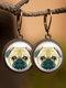Vintage Animal Printed Women Earrings Cat Dog Glass Pendant Earrings - #03