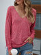 Solid Color Long Sleeves V-neck Thin Drawstring Knitted Sweater - Rose