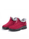 Women Casual Quilting Slip On Waterproof Warm Lining Snow Short Cotton Boots - Red