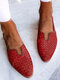 LOSTISY Plus Size Casual Braided Veins Buckle Slingback Flats for women - Red