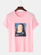 Mens Funny Mona Lisa Print Casual Loose Light Round Neck T-Shirts - Pink