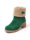 Suede Warm Lining Platform Ankle Boots - Green