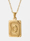 Vintage Gold Square Stainless Steel Letter Pattern Pendant - O