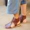 Women Hollow Out Comfy Retro Size Zipper Casual Flat Sandals - Brown