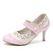 Women Flowers Pattern Hollow Out Mary Jane Pumps - Pink
