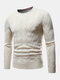 Mens Chevron Knitted Solid Color Crew Neck Slim Fit Casual Sweater - Beige