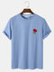 Mens Rose Embroidery Crew Neck Short Sleeve Casual Blue T-Shirt - Blue