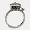 Vintage 925 Silver Open Ring Metal Ball Pendant Six-Character Mantra Rotatable Women Ring - Silver