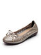 Women Leather Round Toe Breathable Hollow Bow Decoration Slip On Flat Loafers Shoes - Beige & Gray