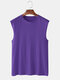 Mens 100% Cotton Breathable Solid Color Casual Tank Tops - Purple