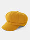 Women Woolen Solid Color Thickened Warmth Octagonal Berets - Yellow