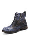 Socofy Women Leather Colorful Stitching Side Zipper Leopard Patchwork Lace Up Short Boots - Black