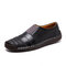 Menico Men Hand Stitching Leather Non Slip Splicing Casual Driving Shoes - Black
