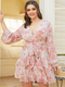 Floral Print Knotted Puff Sleeve Plus Size Ruffle Dress - Pink