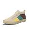 Men Color Block Breather Canvas High Top Zipper Sneakers - Khaki