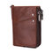 RFID Men Genuine Leather 10 Card Slot Wallet Double Zipper Coin Purse - Coffee