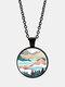 Trendy Metal Round Natural Landscape Print Glass Pendant Necklace - Black