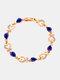 Vintage Heart Women Bracelet Hollow Inlaid Diamonds Bracelet Valentine's Day Gift - Blue
