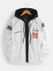 Mens Patchwork Stylish Casual Zipper Cotton Relaxed Fit Varsity Jacket - White