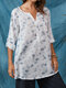 Ink Dot Printed V-neck Button-up Sleeve Plus Size Pocket Front Blouse - White