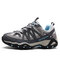 Women Leather Slip Resistant Lace Up Outdoor Hiking Sneakers - Grey