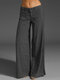 Casual Solid Color Pockets Plus Size Pants for Women - Dark Grey