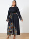Print Patchwork O-neck Long Sleeve Plus Size Knotted Vintage Dress - Navy