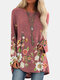 Flower Print Long Sleeve O-neck Casual Blouse For Women - Wine Red