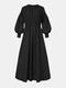 Casual Solid Color O-neck Puff Sleeve Plus Size Dress with Button - Black