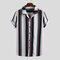 Mens Funny Multi Color Striped Turn Down Collar Short Sleeve Casual Loose Shirts