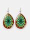 Vintage Glass Printed Women Earrings Geometric Flower Pendant Earrings Jewelry Gift - #03