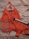 Frauen aushöhlen Quaste trimmt rückenfreie Webart Halfter Holiday Beach Bikinis - rot