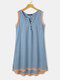 Patched Color Slit Hem Sleevess Button Casual Midi Dress - Blue