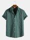 メンズストライプラペルコットンリネン半袖カジュアルシャツ - 緑