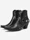 Plus Size Buckle Strap Decoration Slip Resistant Chunky Heel Ankle Boots - Black