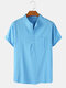 Mens Cotton Solid Color Light Loose Casual Chest Pocket Henley Shirts - Light Blue